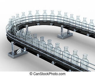 tape conveyor with bottles on white background. Isolated 3D...