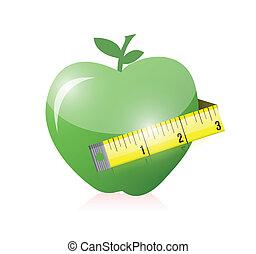 tape., groene appel, illustratie, maatregel