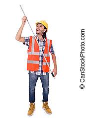 tape-line, 建設, 隔離された, 労働者, 白