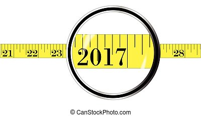 A magnifying glass over a tape measure with the date 2017