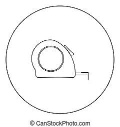 Tape measure icon black color in circle