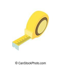 Tape measure icon, cartoon style