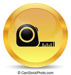 Tape measure icon. Internet button on white background.