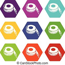 Tape measure icons set 9 vector