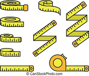 Tape measure icons - set of measuring tapes and ruler reels, centimeter bobbin