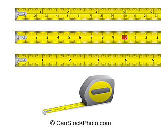Tape measure in inches and centimet