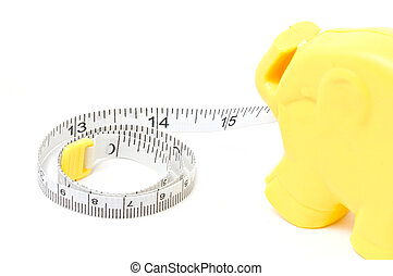 Tape measure isolated on white.