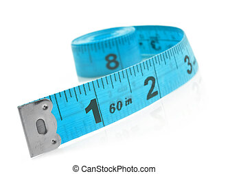 Tape measure on a white background with space for text