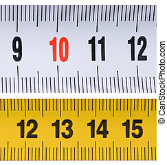 Tape measure - Opened tape measure on white isolated...