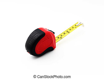Tape measure over white background