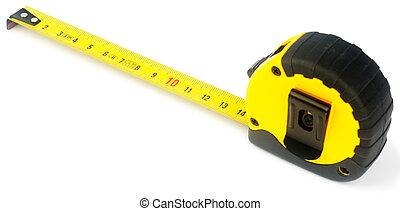 Tape-measure over white
