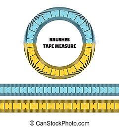 Tape measure. Set of vector brushes, frame.