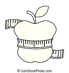 tape measure with apple fruit