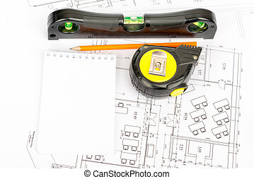 Tape measure with pencil and pad