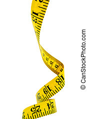 Yellow tape measure curling downwards. Clipping path included.