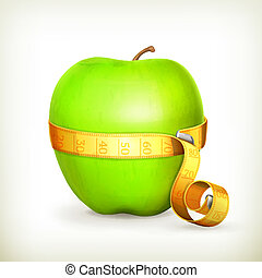 Tape measurement and green apple, vector