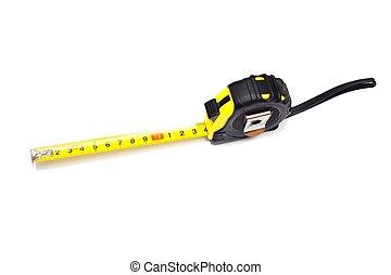 Tape-measurer - Extended retractable tape measurer on a...