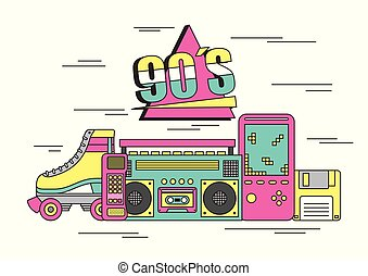 tape recorder cube rubik video game tamagotchi roller skate 90s devices and toys