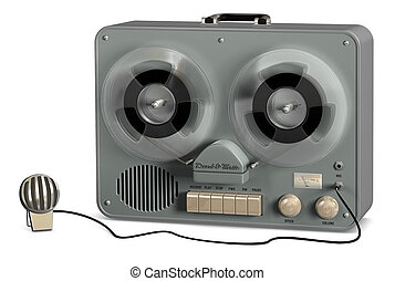 Tape Recorder - Retro reel to reel tape recorder on a white ...