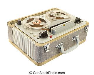 Tape recorder tilt view - Tilt view of an old portable reel-...