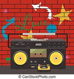 Tape stereo recorder with cassette over graffiti wall