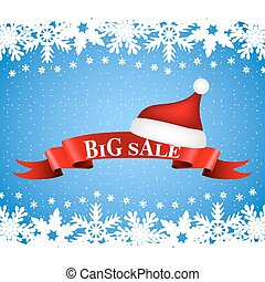 tape with the word big sale and hat of Santa Claus on a Christmas background with snowflakes