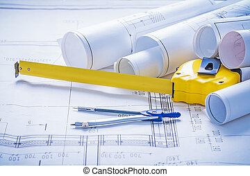 tapeline compass rolls of blueprints