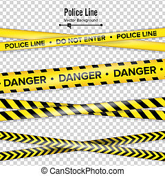 tapes., polícia, experiência., danger., isolado, ilustração, linha., pretas, amarela, não, segurança, entrar, quarentena