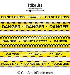 tapes., polícia, perigo, perigo, quarentena, isolado, ilustração, linha., crucifixos, experiência., pretas, amarela, não, segurança, branca, caution.