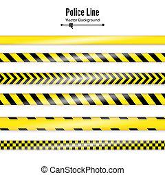tapes., polícia, perigo, quarentena, isolado, ilustração, linha., experiência., pretas, amarela, segurança, branca