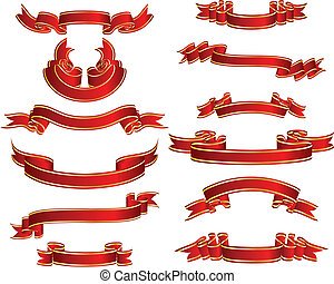 tapes set - Set of different vector ribbons on white...