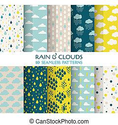 tapet, 10, skyer, -, seamless, regn, mønstre, vektor, tekstur, scrapbog, baggrund, tekstur