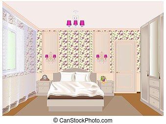 tapet, bordläggar, lätt, sovrum, illustration, säng, inre, sängkant, wardrobe., blommig