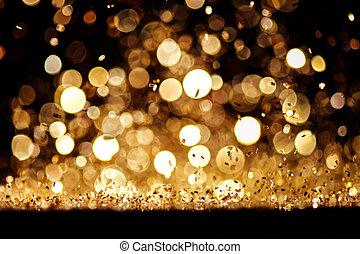 tapet, guld, abstrakt, bokeh, eller, glitter, stickande, bakgrund