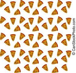 tapet, illustration, vektor, bakgrund, vit, pizza