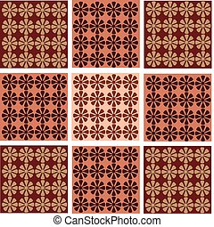 tapet, seamless, blomst, ornamentering