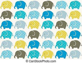 tapeta, seamless, stuk, słonie