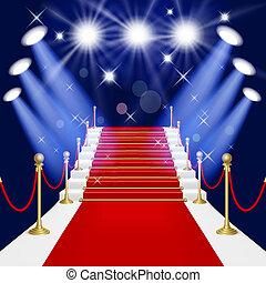tapete, escada, vermelho