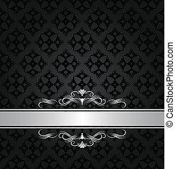 tapete, schwarz, banner, silber