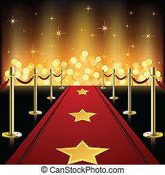 tapete vermelho, com, estrelas
