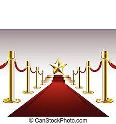 tapete vermelho, dourado, estrela