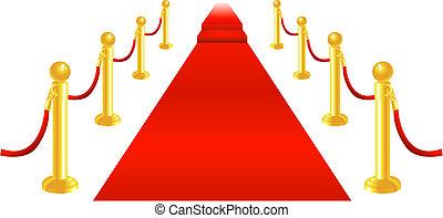tapete vermelho, e, corda veluda