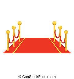 tapijt, rood, pictogram