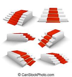 tapijt, set, trap, rood, 3d