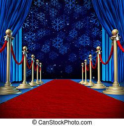 tapijt, winter, achtergrond, rood
