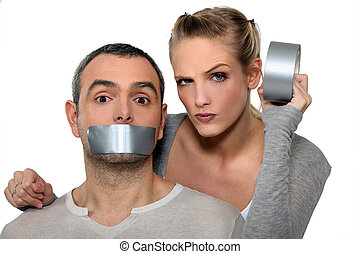 taping-up, 女, 口, 人を配置する
