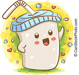 Tapioca milk tea kawaii cartoon character