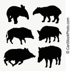 Tapir and boar wild animal silhouette