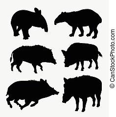 Tapir and boar wild animal silhouette