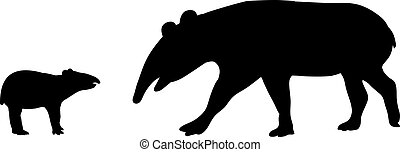 Tapir family. Silhouettes of animals